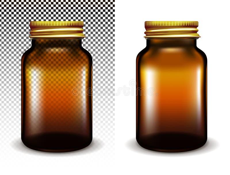 Barattolo di vetro trasparente di vettore per i cosmetici e le medicine royalty illustrazione gratis