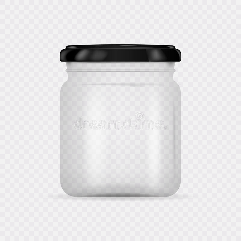 Barattolo di vetro trasparente vuoto con il coperchio a vite royalty illustrazione gratis