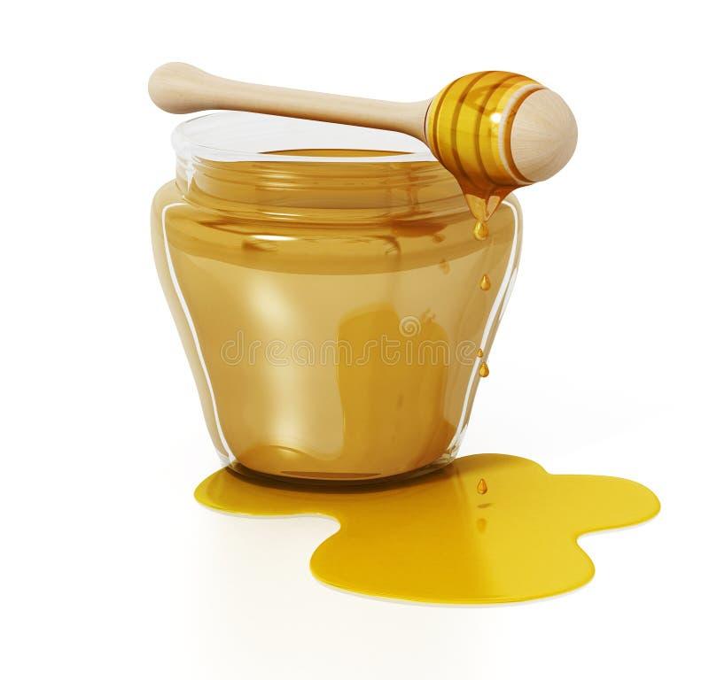 Barattolo e merlo acquaiolo del miele isolati su fondo bianco illustrazione 3D illustrazione di stock