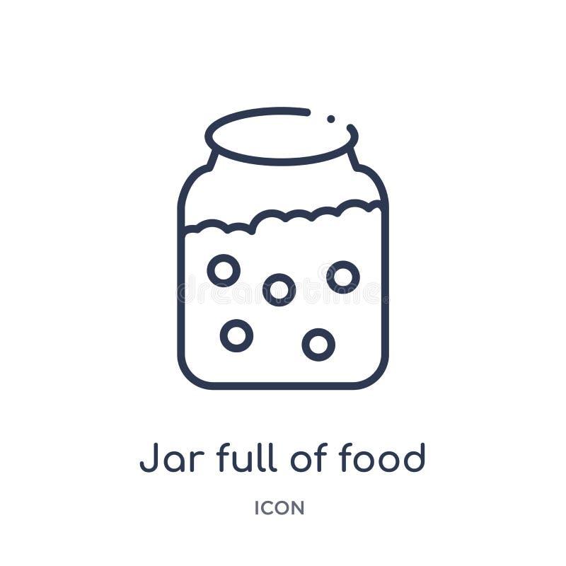 Barattolo lineare in pieno dell'icona dell'alimento dalla raccolta del profilo del ristorante e dei bistrot Linea sottile baratto illustrazione vettoriale