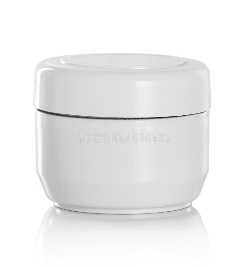 Barattolo o imballaggio in bianco per il prodotto cosmetico fotografie stock libere da diritti