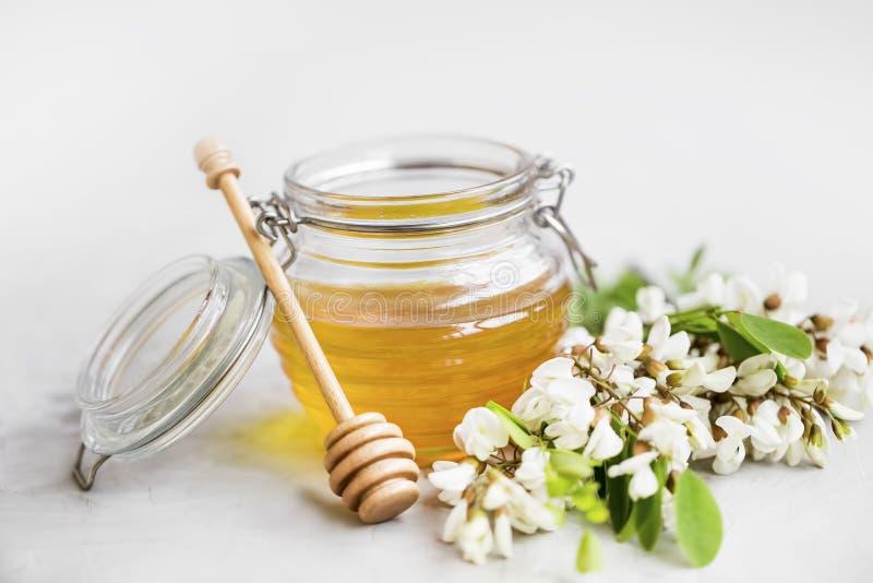 Barattolo organico del miele dell'acacia fotografia stock libera da diritti