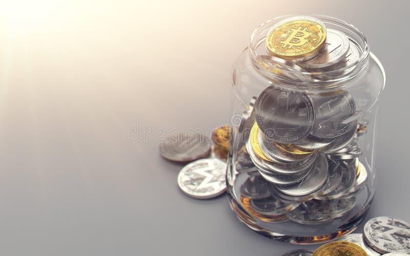 Barattolo in pieno dei cryptocurrencies differenti Concetto della cartella di Cryptocurrency Rappresentazione realistica 3d royalty illustrazione gratis