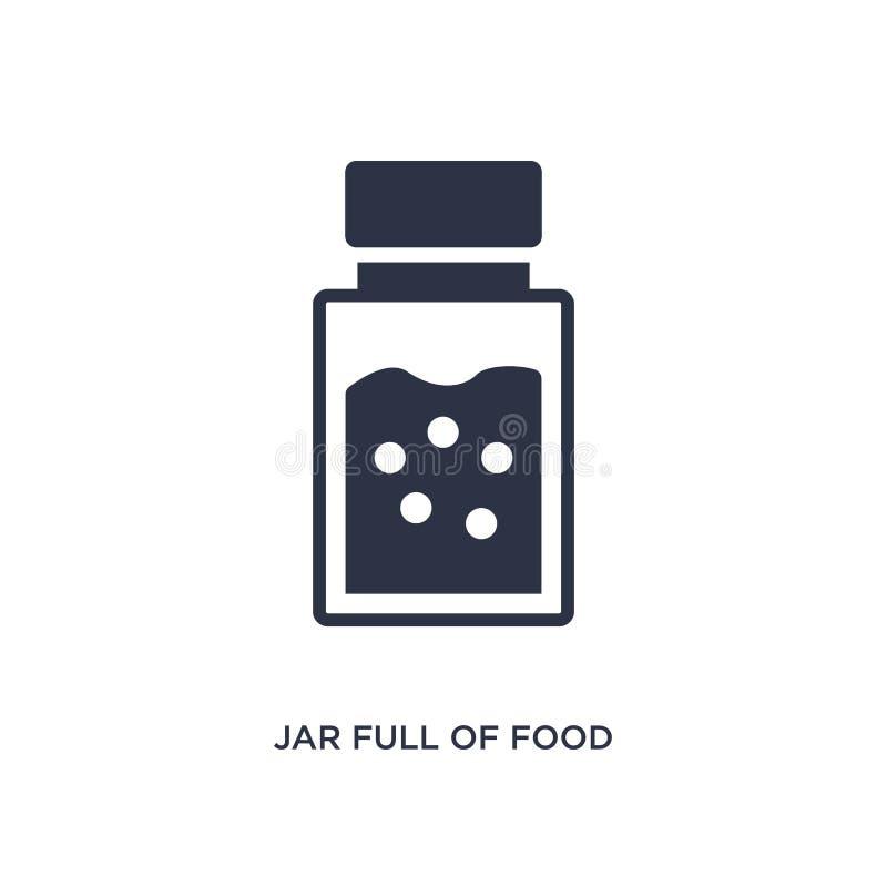 barattolo in pieno dell'icona dell'alimento su fondo bianco Illustrazione semplice dell'elemento dal concetto del ristorante e de illustrazione di stock