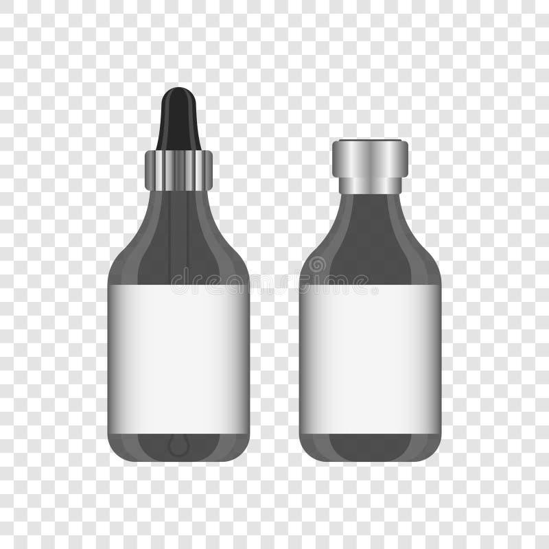 Barattolo realistico con misurare di una pipetta e una copertura di alluminio per la siringa Etichetta per qualsiasi testo Illust illustrazione di stock