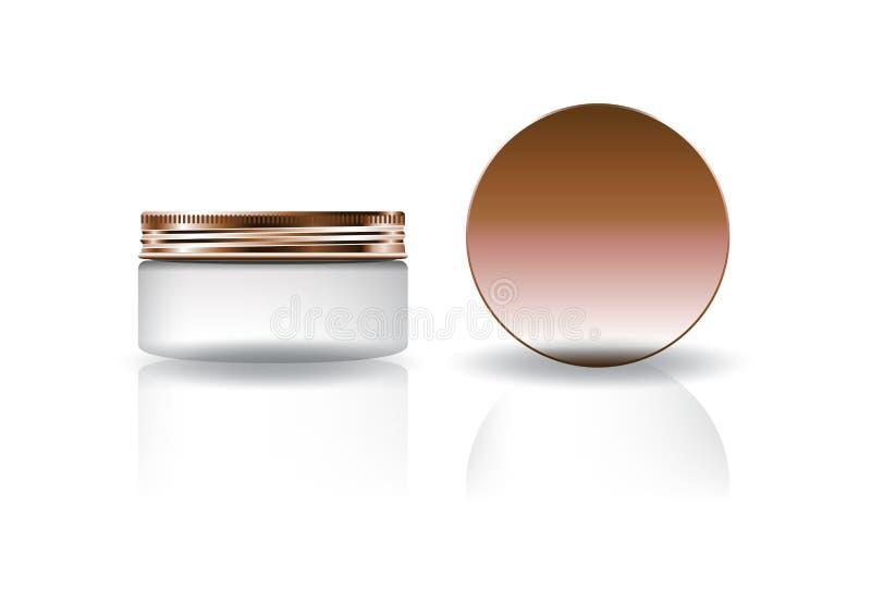 Barattolo rotondo cosmetico bianco in bianco con il coperchio di rame per l'imballaggio del prodotto di bellezza illustrazione vettoriale