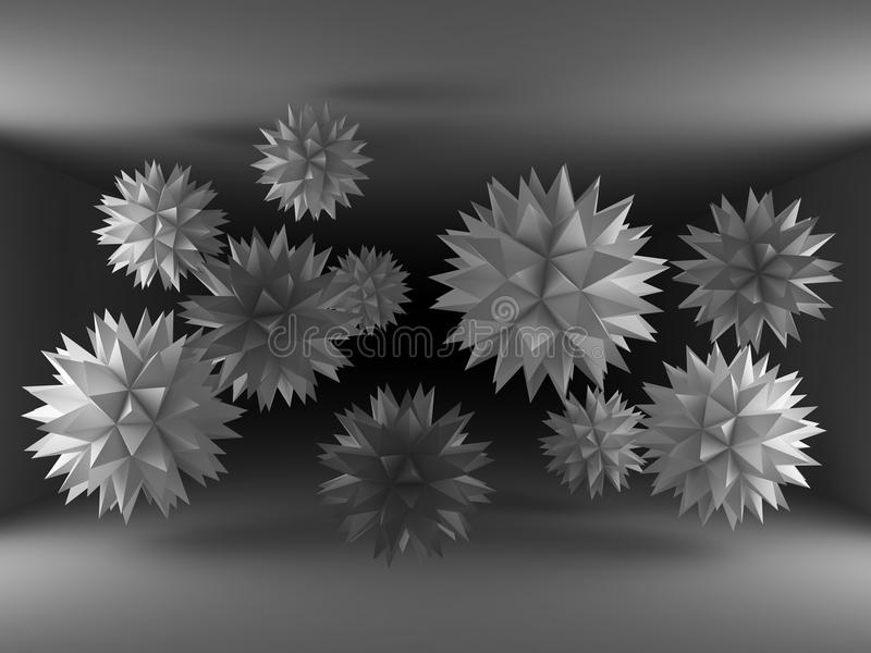 Barb spheres interior. Balls with spikes wide wallpapers royalty free illustration