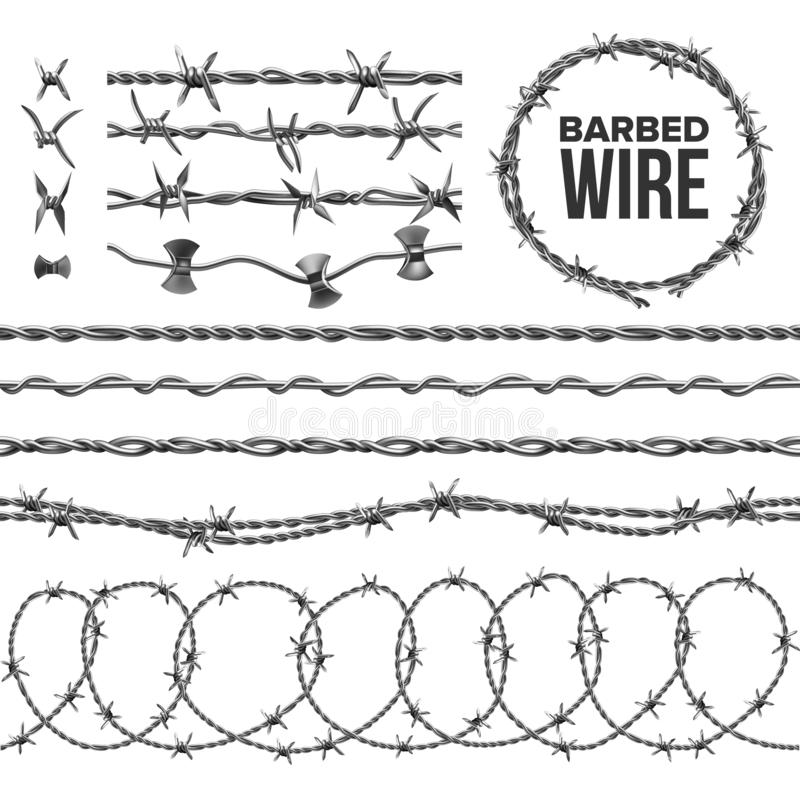 Free Barb Wire Collection With Razor Detail Set Vector Stock Photography - 165680642