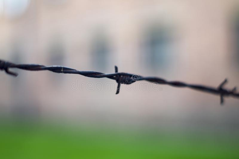Barb Wire Fence fotografia stock