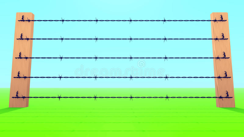Barb Wire Fence. Against blue sky an green field vector illustration