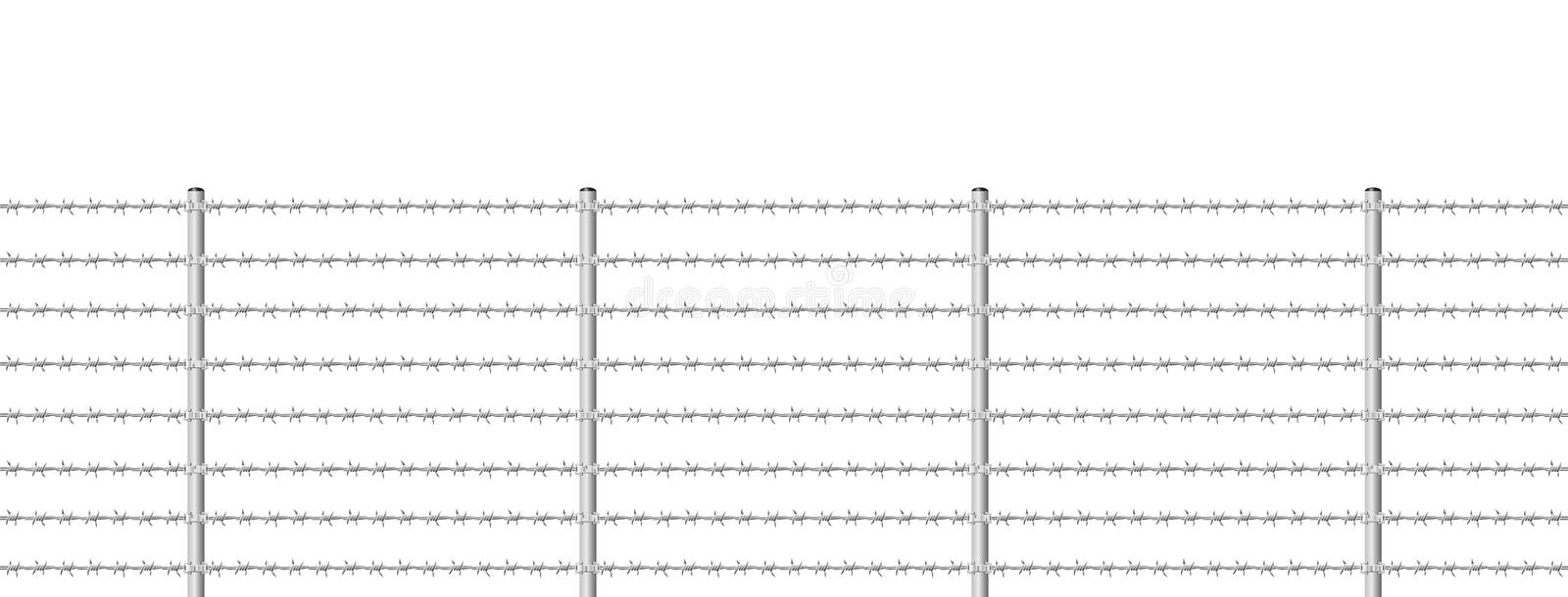 Barb Wire Fence Endless. Barb wire fence, seamless expandable - isolated vector illustration on white background vector illustration