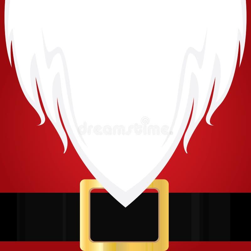 Barba branca de Santa Claus do Natal Camisa e correia vermelhas do feriado ilustração royalty free
