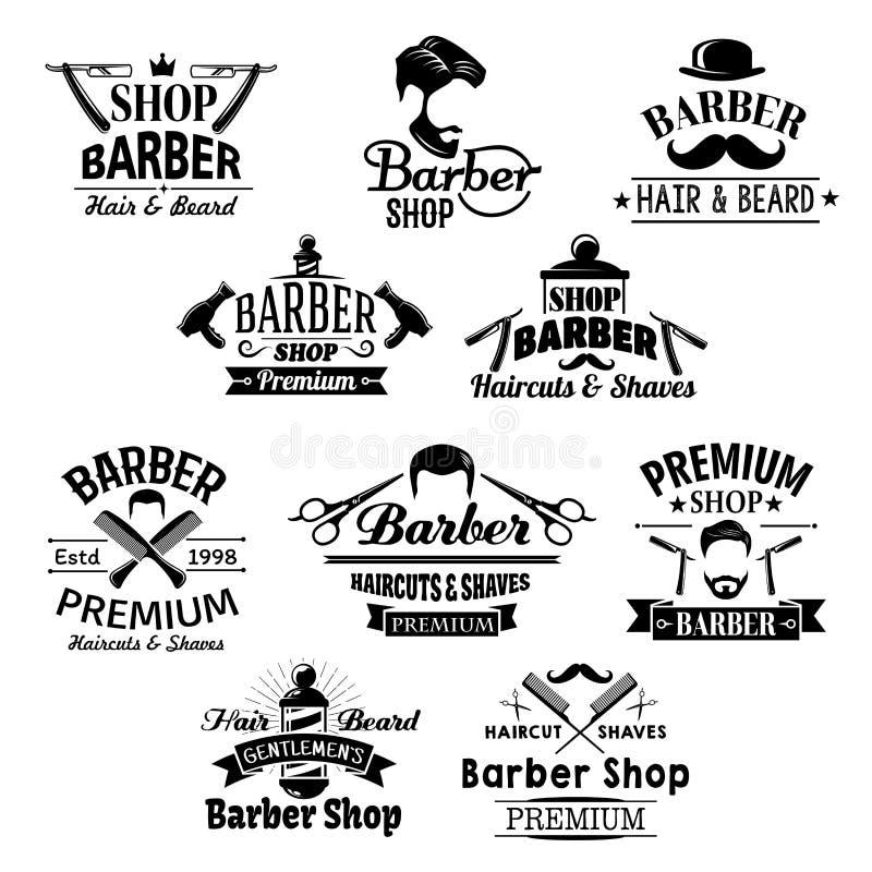 Barba de la peluquería de caballeros, iconos del vector de las tijeras de los bigotes stock de ilustración