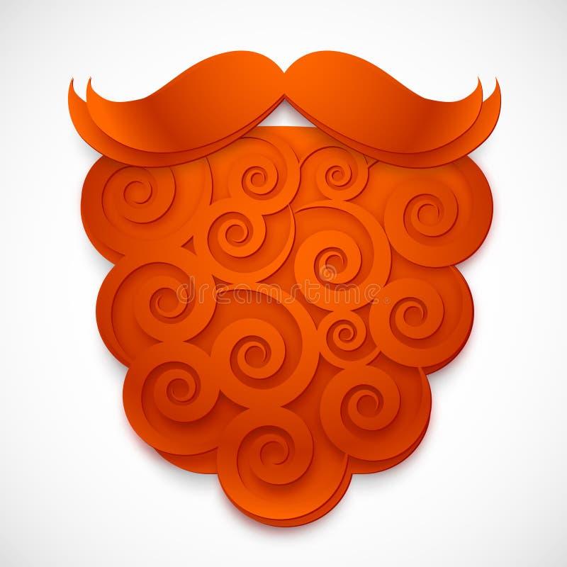 Barba de papel rizada roja de la falsificación del vector con los bigotes stock de ilustración