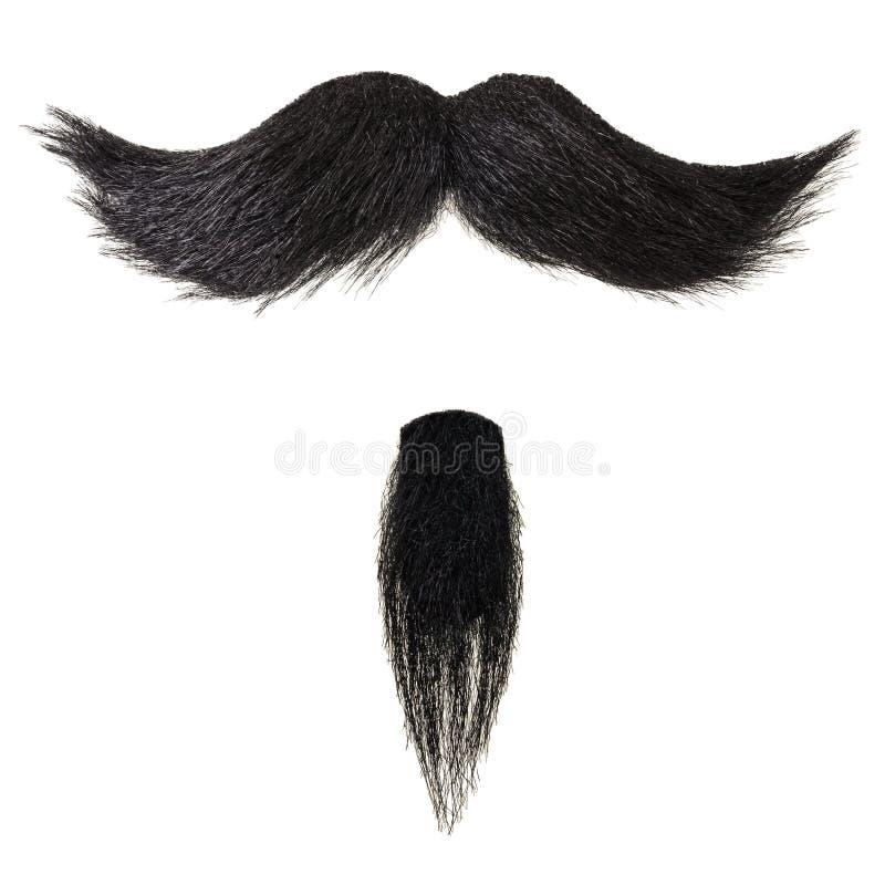 Barba del bigote y de la perilla aislada en blanco imágenes de archivo libres de regalías