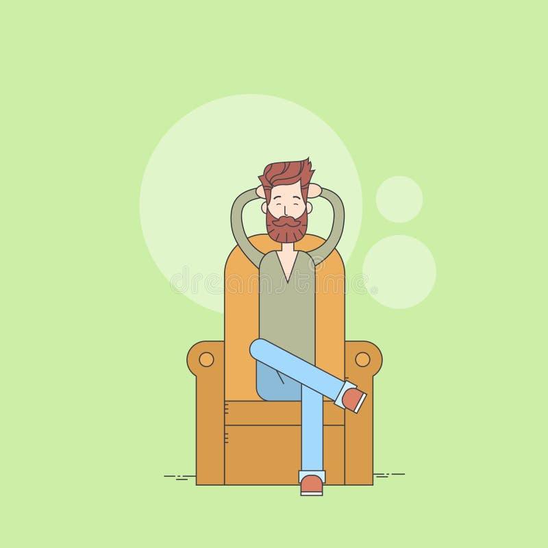 Barba dell'uomo che si siede nella linea sottile domestica di rilassamento di comodità della poltrona illustrazione vettoriale