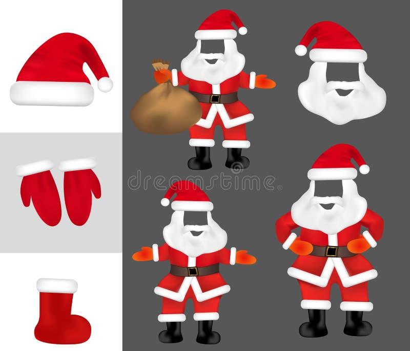 Barba di Santa Claus del costume e puntelli della foto dei baffi Metta la maschera di Natale ed i guanti, stivale Vettore illustrazione di stock