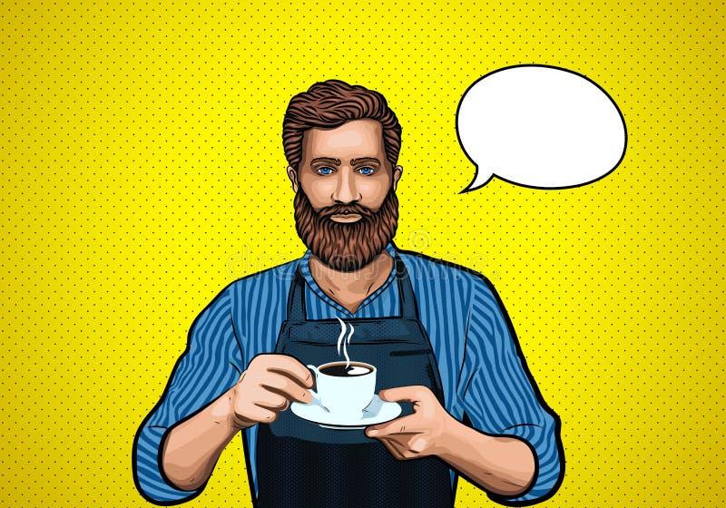 Barba do homem de Barista Café quente Ilustração do pop art ilustração royalty free