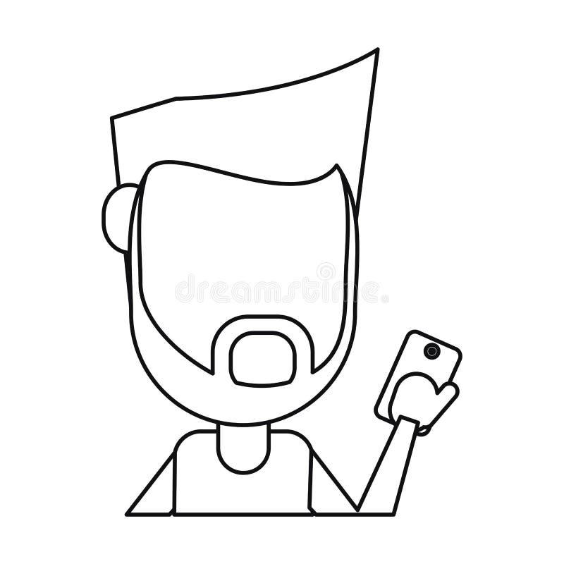 Barba do homem do moderno usando a linha fina digital do telefone celular ilustração royalty free