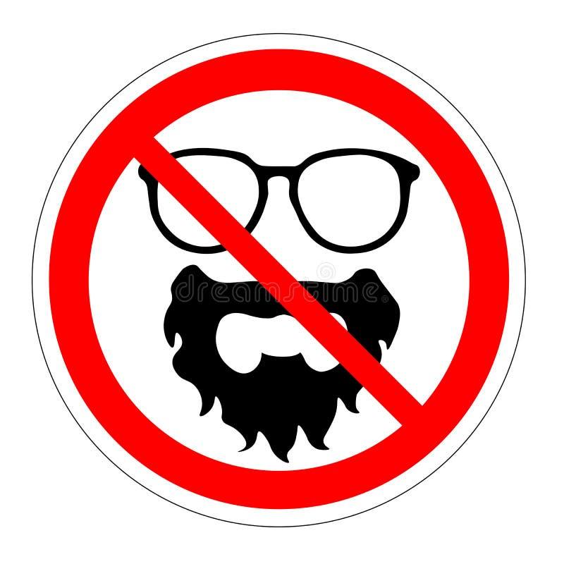 Barba dos vidros da proibição Proibindo acessórios do sinal Ilustração do vetor ilustração royalty free