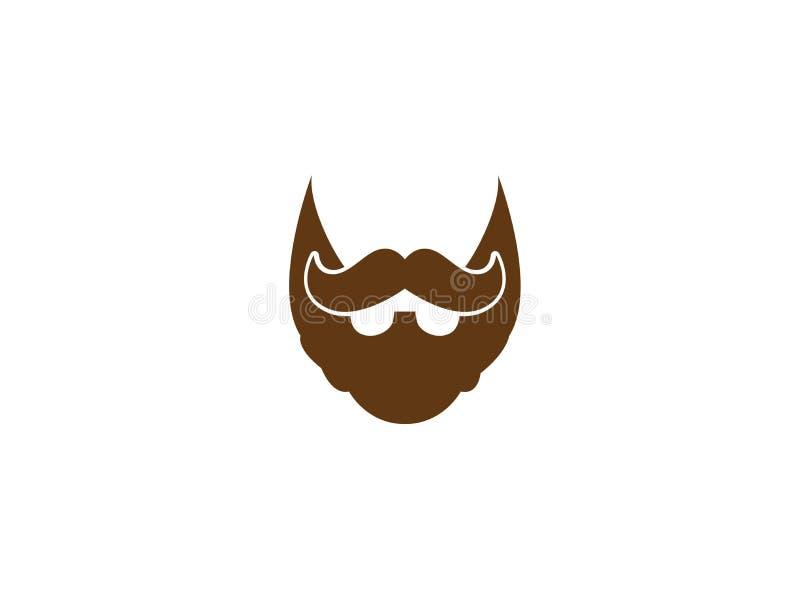 Barba e baffi di un signore elegante per l'illustrazione di progettazione di logo royalty illustrazione gratis
