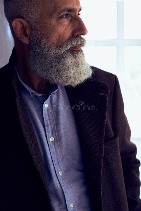 Barba espesa gris del hombre maduro imagenes de archivo