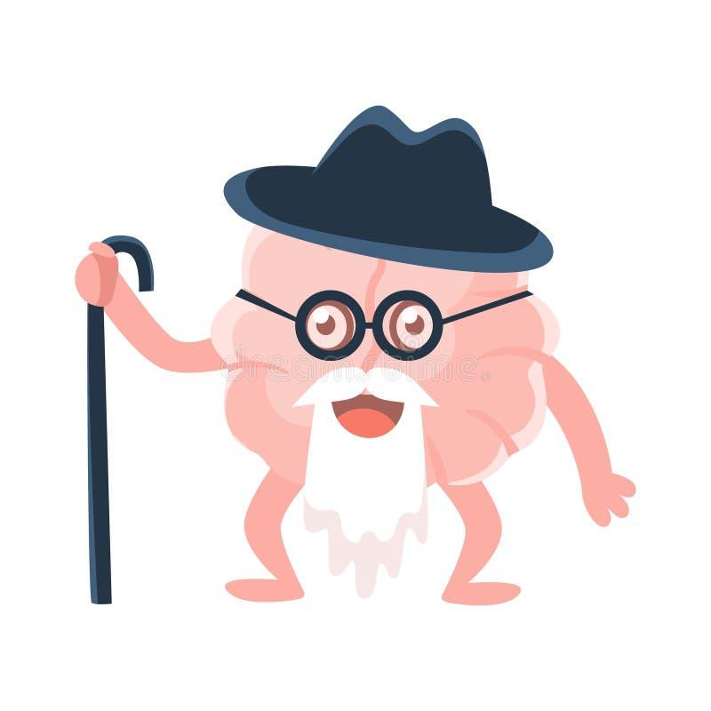 Barba longa sábia e velha humanizada de Brain With Walking Stick And, ícone de Emoji do personagem de banda desenhada do órgão hu ilustração royalty free