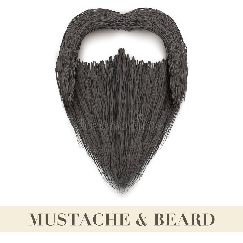 Barba nera realistica con i baffi ricci illustrazione di stock