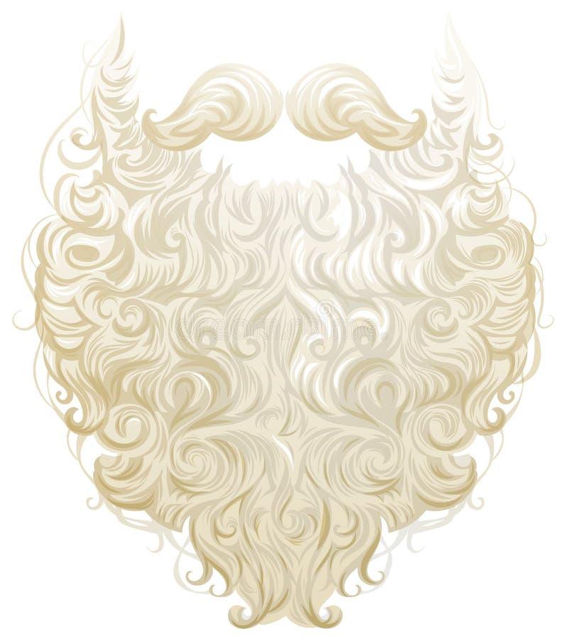 Barba y bigote gruesos blancos Santa Claus stock de ilustración