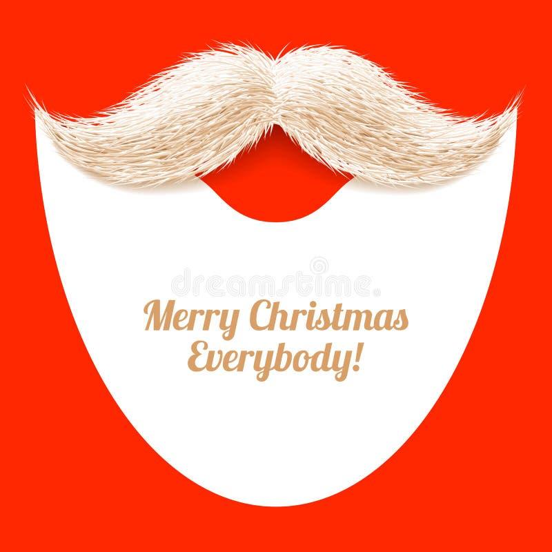 Barba y bigote, tarjeta de Navidad de Santa Claus stock de ilustración