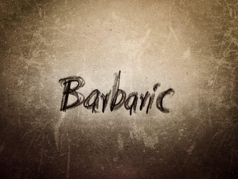 barbaars engels woord op de oude en vitale papieren pagina stock afbeeldingen