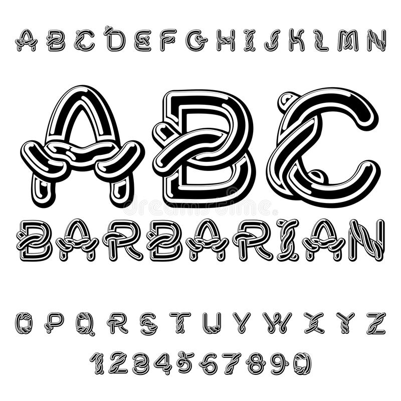 Barbaarse doopvont norse middeleeuws ornament Keltisch ABC traditioneel royalty-vrije illustratie