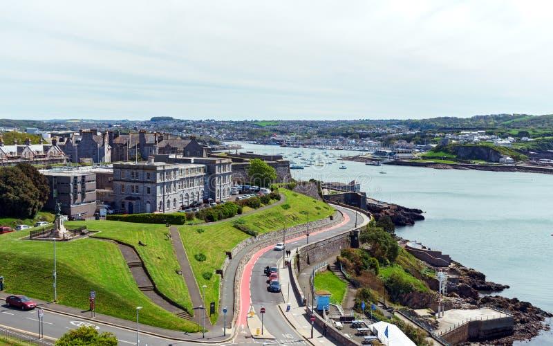 Barbacana y azada, Devon, Reino Unido de Plymouth, el 3 de mayo de 2018 imagen de archivo