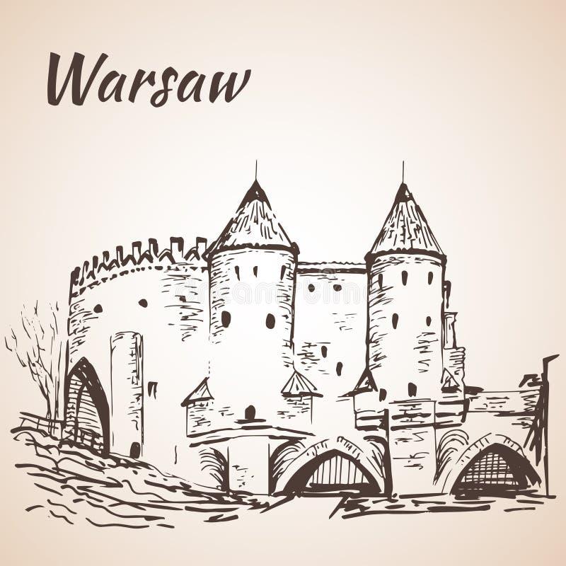 Barbacane di Varsavia abbozzo illustrazione vettoriale