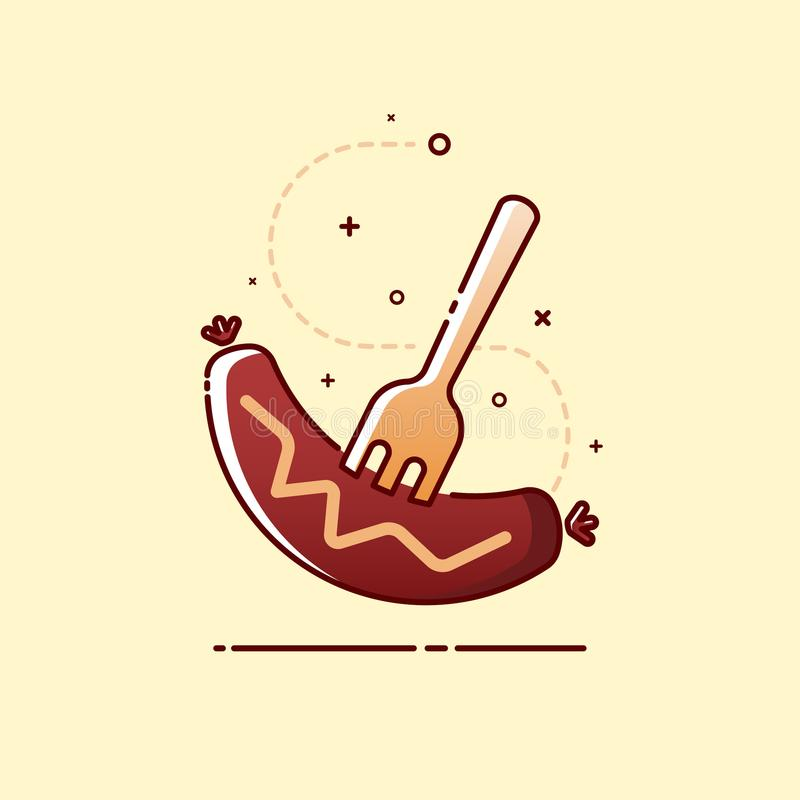 Barbacoa asada a la parrilla de la salchicha con el icono de la bifurcación Ilustración del vector libre illustration