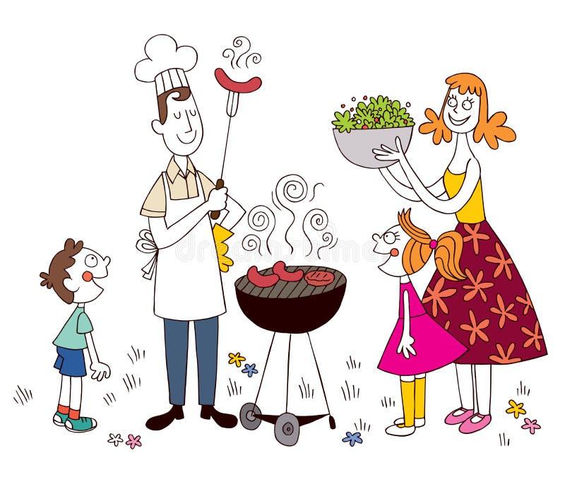 Barbacoa de la familia stock de ilustración