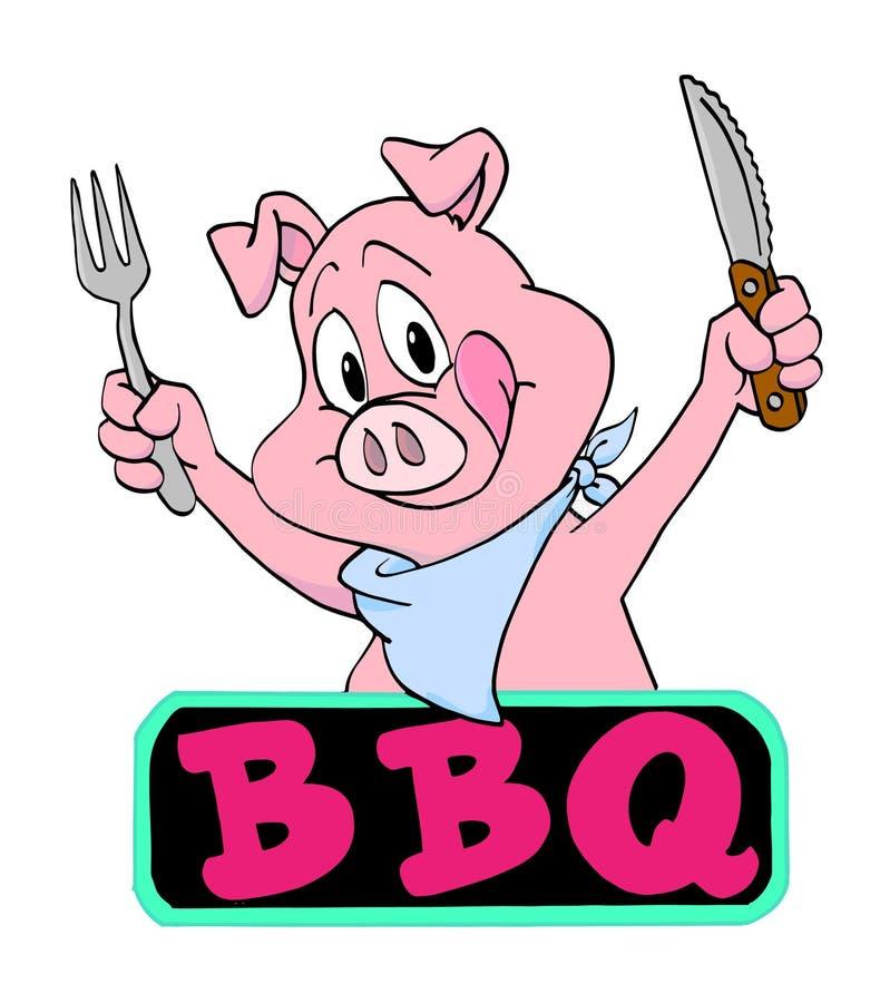 Barbacoa del cerdo stock de ilustración
