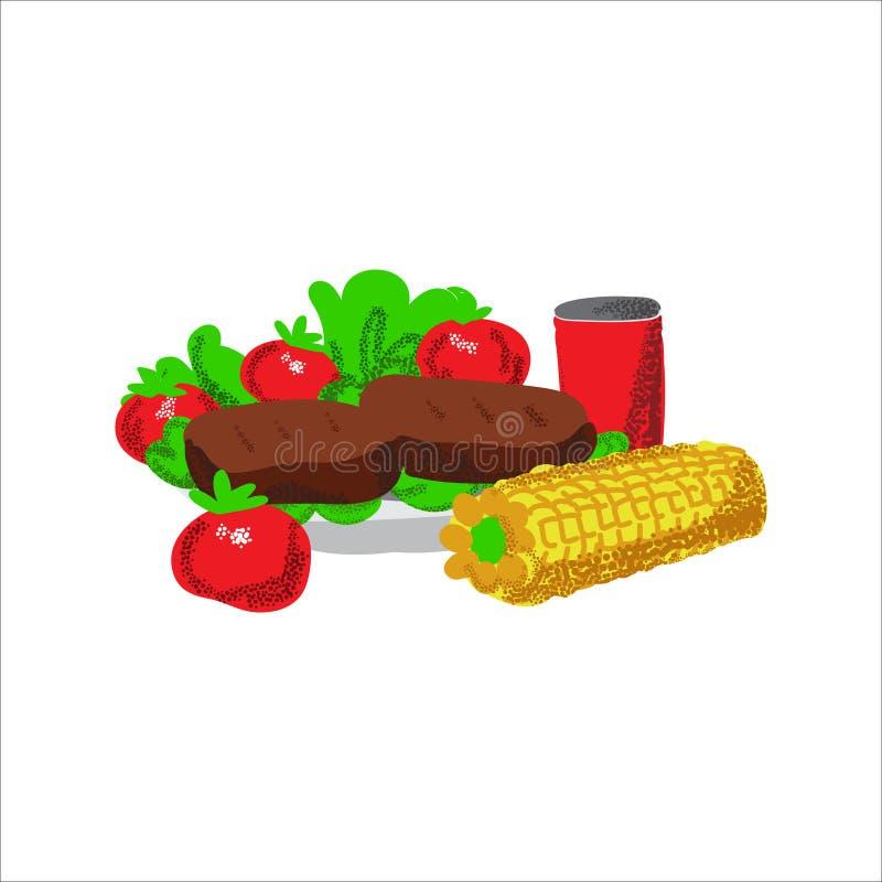 Barbacoa del ejemplo de la comida de la comida campestre del Memorial Day stock de ilustración