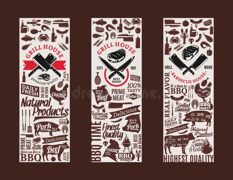 Barbacoa del vector, parrilla y banderas del asador ilustración del vector