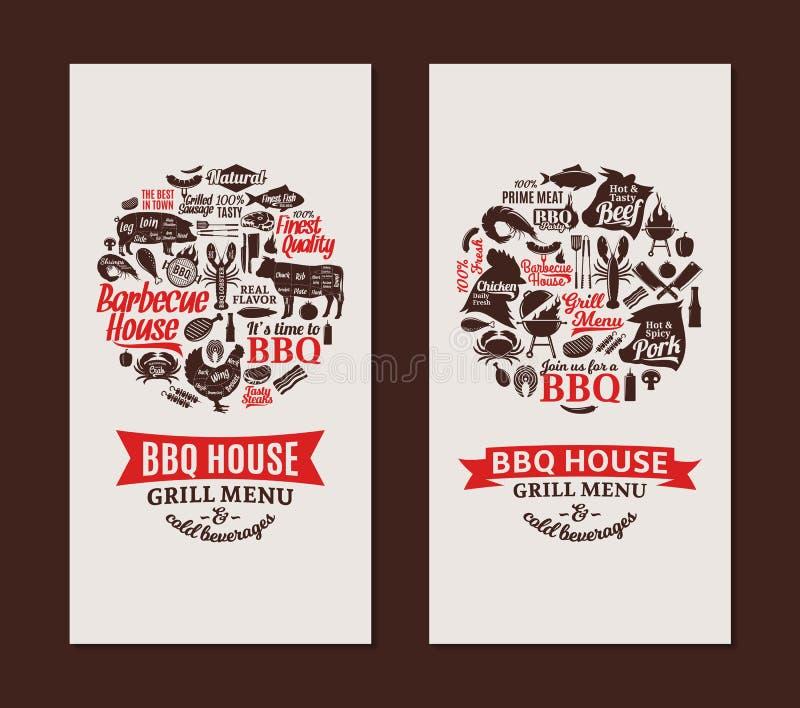 Barbacoa del vector, parrilla y tarjetas del asador stock de ilustración