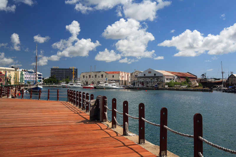 Barbados. Boardwalk-View on The wharf and marina of Bridgetown in