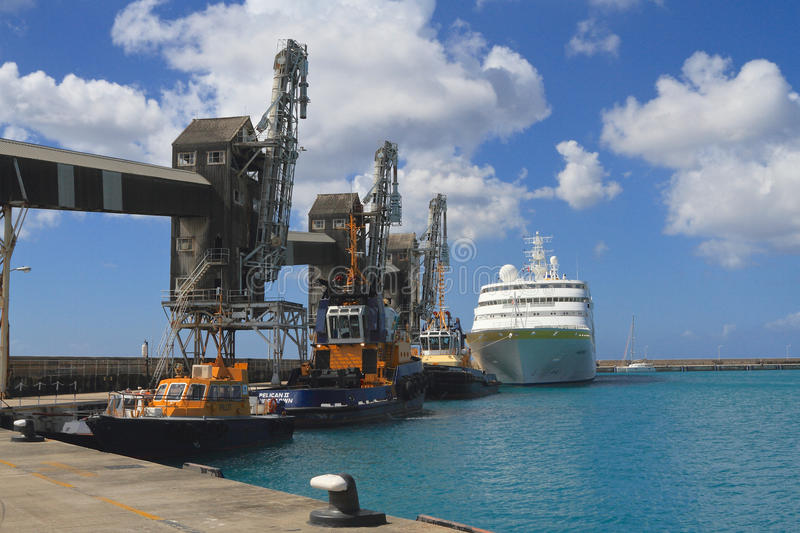 Barbados Bridgetown Port With Cruise ShipPilot BoatsCargo - Cargo cruise ship