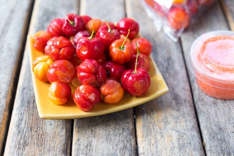 The Barbados cherry. Or Thai Cherry stock photos