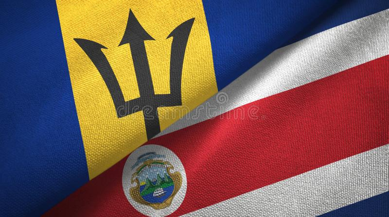 Barbados and Costa Rica two flags textile cloth, fabric texture. Barbados and Costa Rica flags together textile cloth, fabric texture royalty free illustration