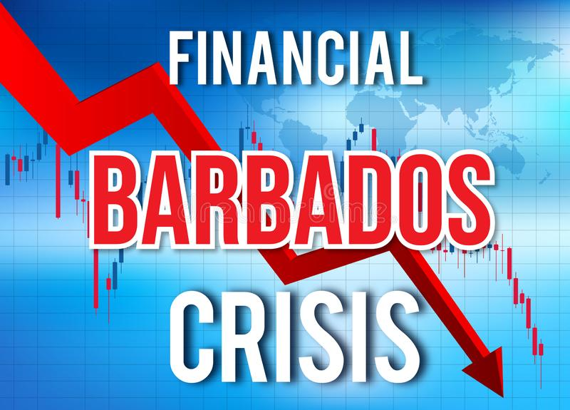 Barbados Financial Crisis Economic Collapse Market Crash Global Meltdown. Illustration stock illustration