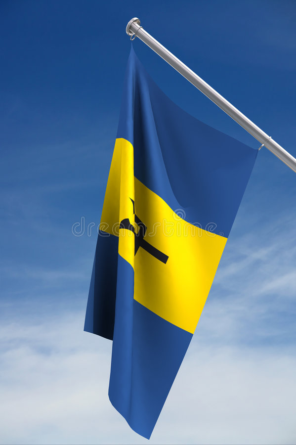 barbados flag national royaltyfri illustrationer