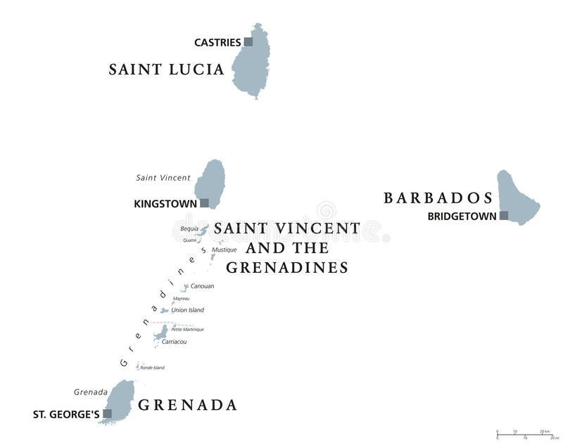 Barbados Grenada Saint Lucia Saint Vincent Political Map Stock