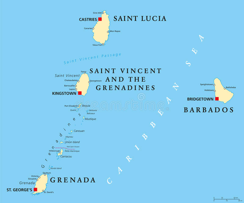Barbados Grenada Saint Lucia And Saint Vincent Political Map Stock