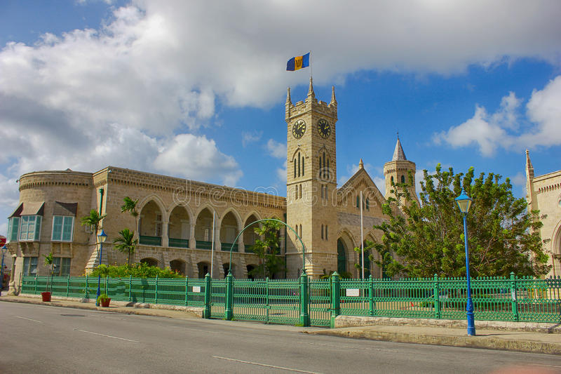 BARBADOS het parlement in Bridgetown stock foto's