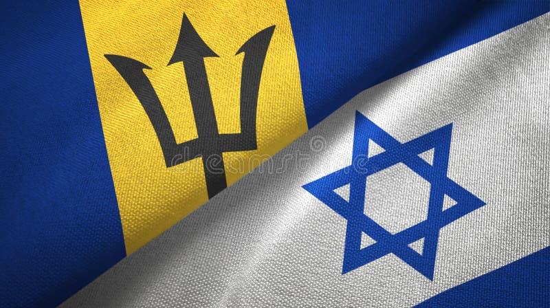 Barbados i Izrael dwa flagi tekstylny p??tno, tkaniny tekstura ilustracji